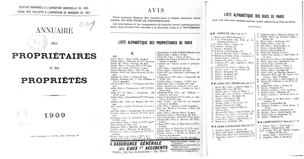 Annuaire des propriétaires et des propriétés de 1909