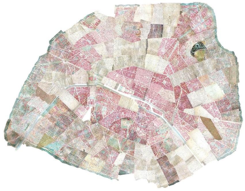 Assemblage géoréférencé de l'ensemble des feuilles du cadastre (dites « draps de lit ») de la fin du XIXe s. (AD75, série PP)