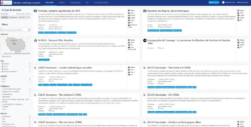 Vue de l'interface de la plateforme opendata «Fabrique numérique du passé»