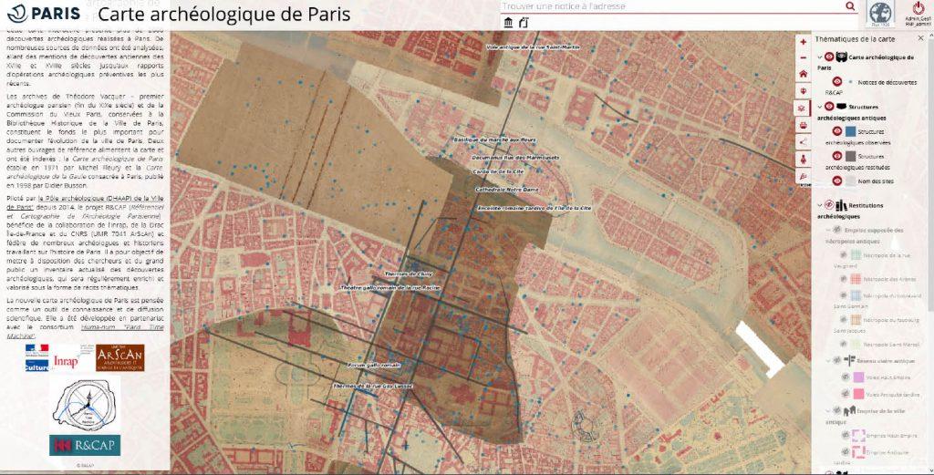 Vues des interfaces de deux projets associés : la carte archéologique de Chartres en haut et la carte archéologique de Paris
